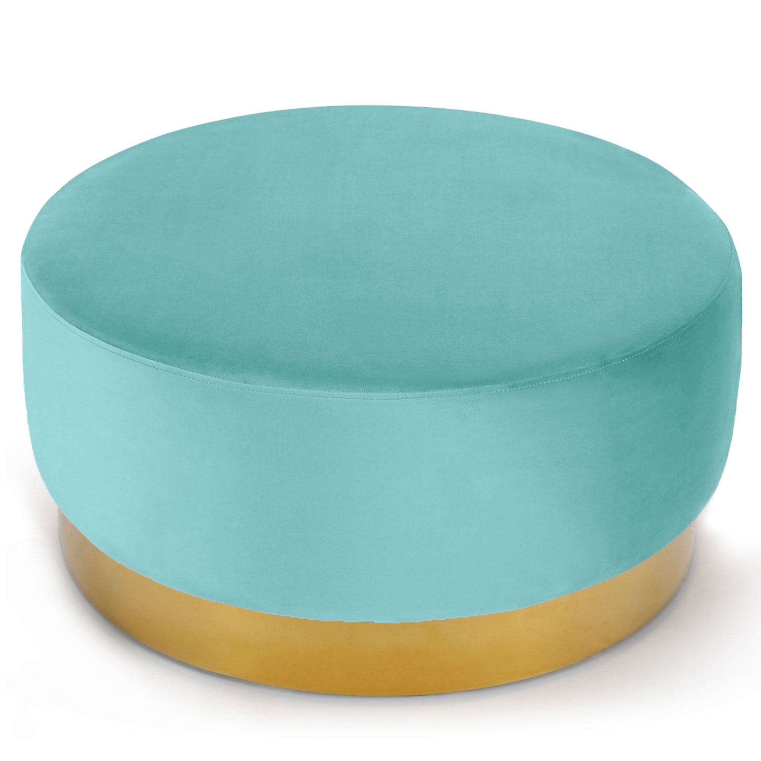 Pouf Rond Daisy Velours Menthe Pied Or