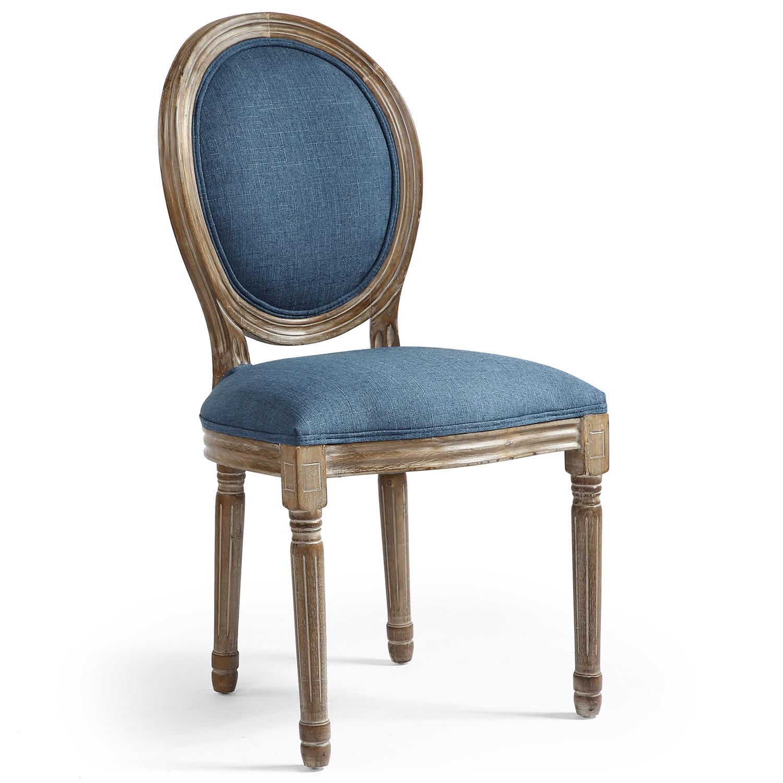 Set di 2 sedie a medaglione in stile Luigi XVI in tessuto blu