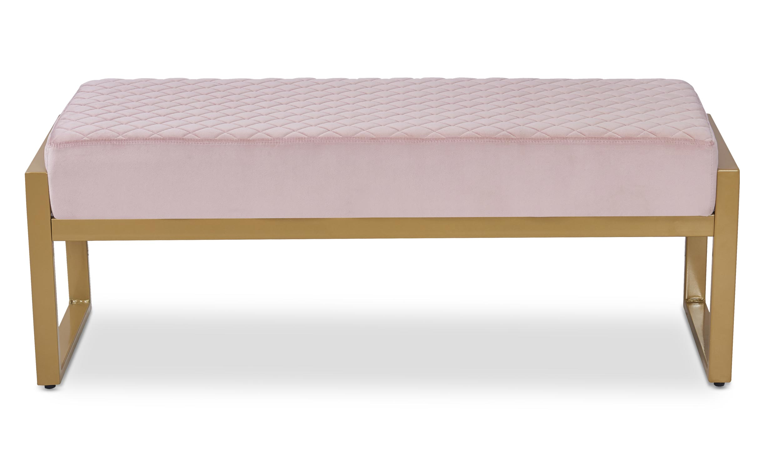 Panca Madison Velluto Rosa piedi Oro