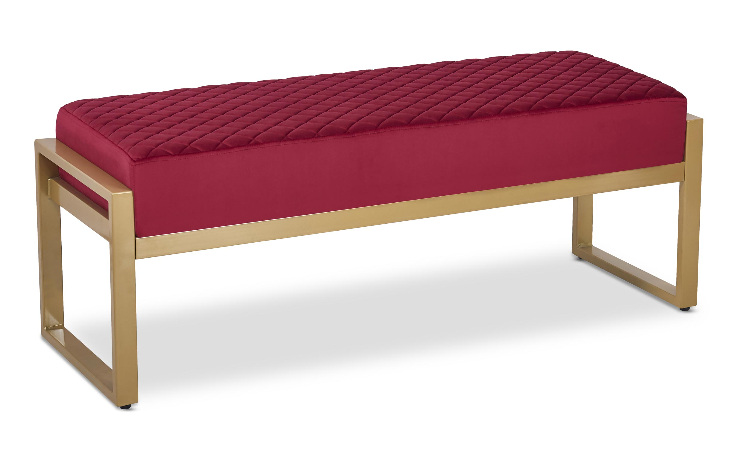 Banquette Madison Velours Rouge Pieds Or