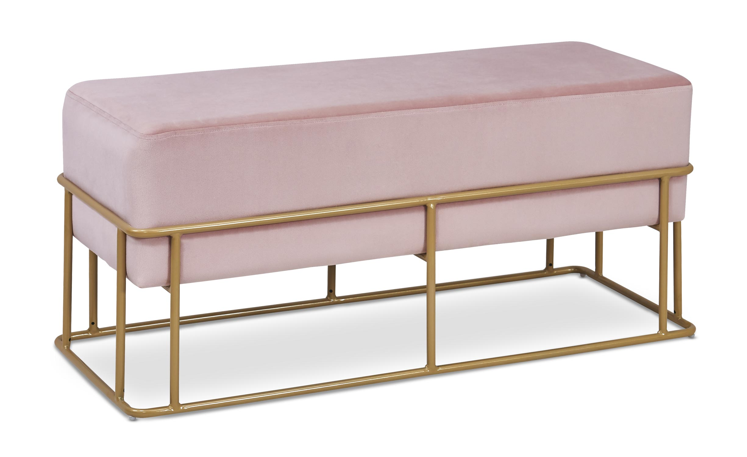 Banquette Tristan Velours Rose Pieds Or