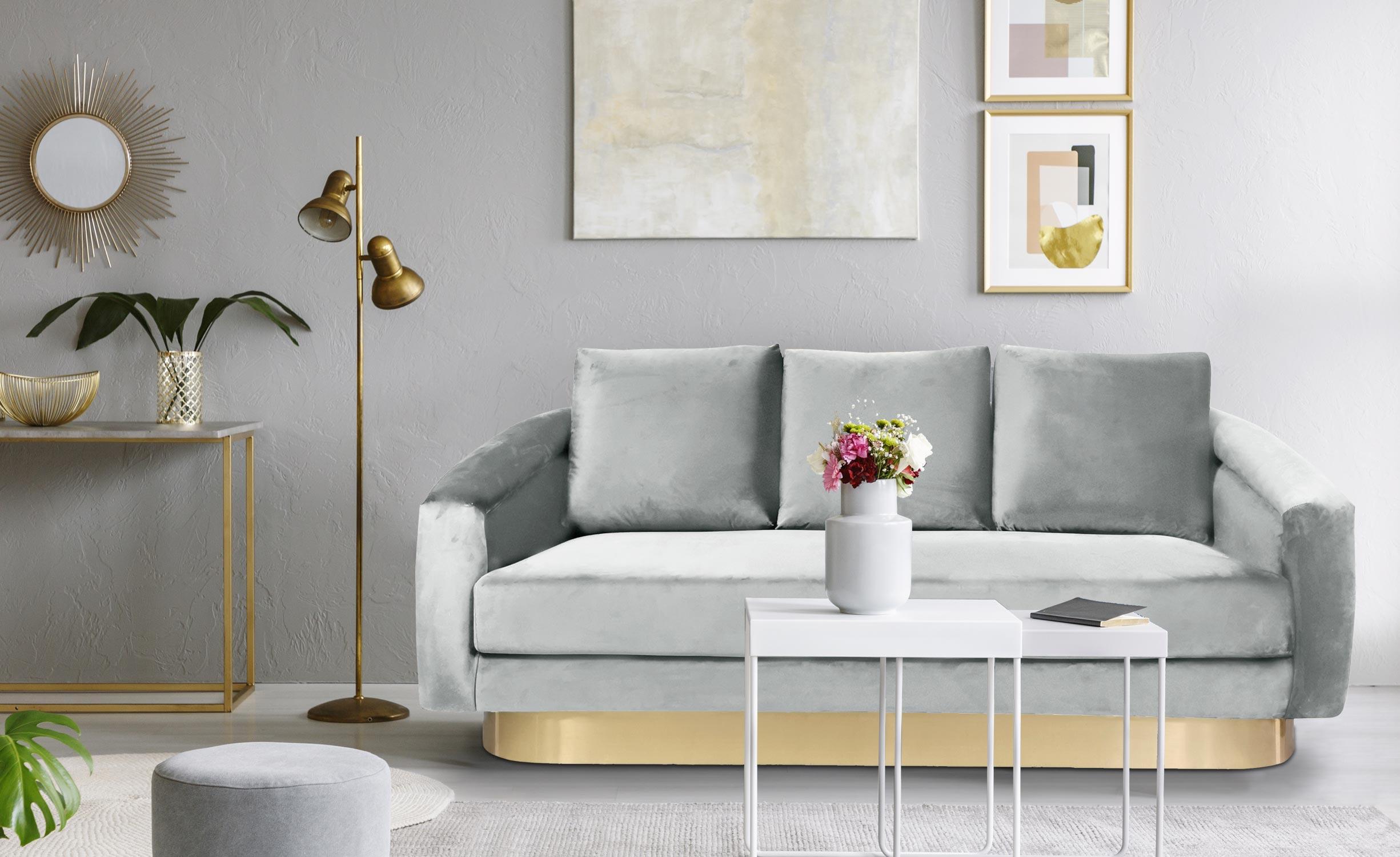 Kenpark divano 3 posti in velluto argento