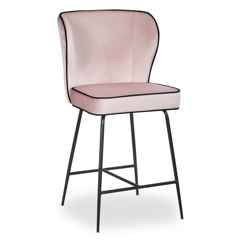 Chaise de bar Elsa Velours Rose