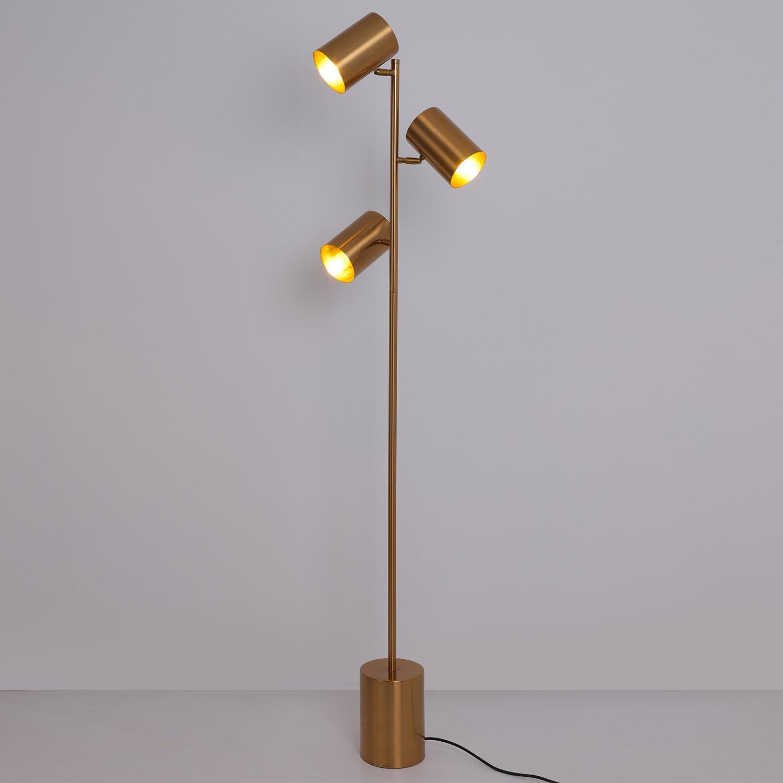 Lampada da terra Trianon in metallo spazzolato dorato