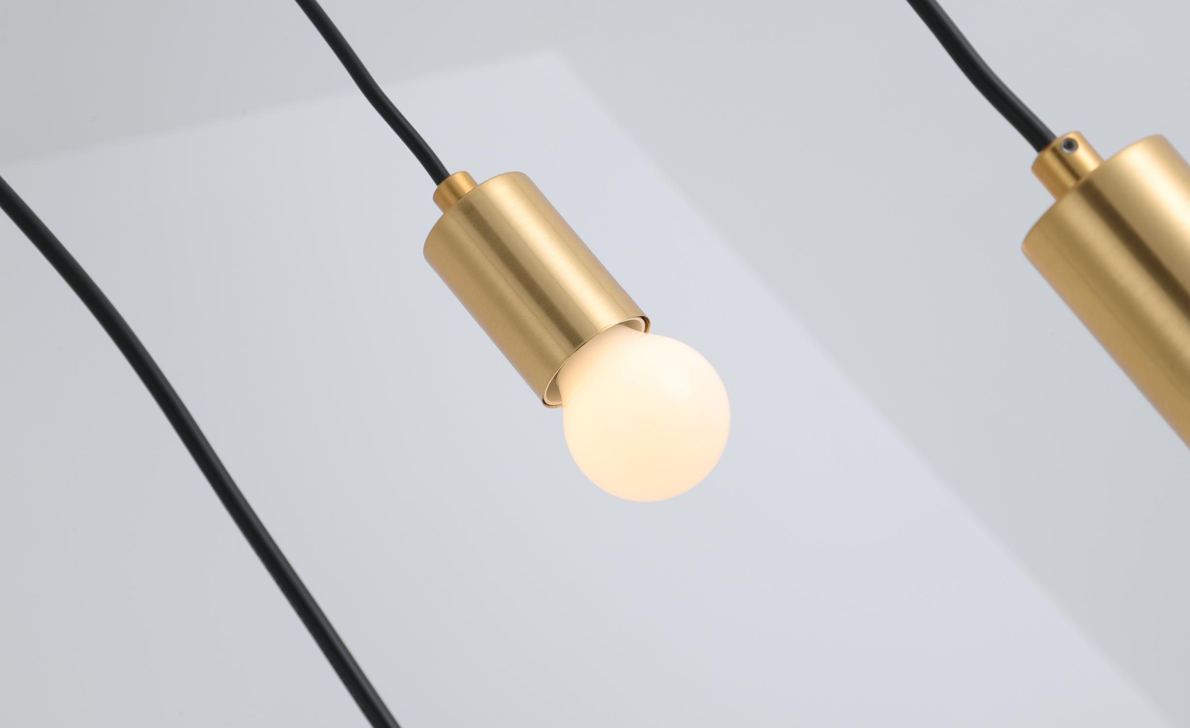 Lampadario Triplado Metallo Oro