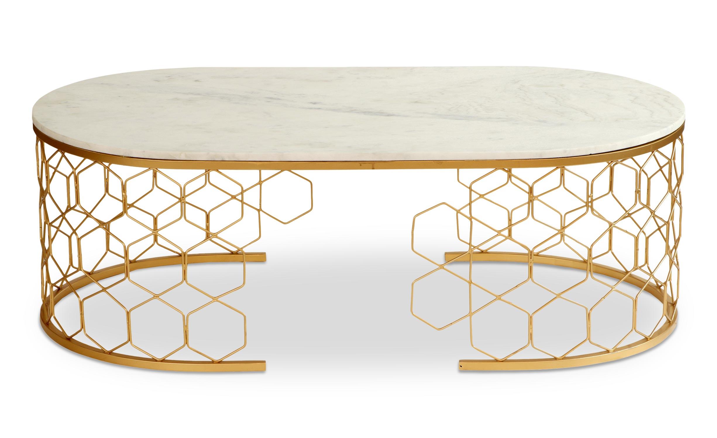 Tavolino design Mayano Marmo e Metallo Dorato