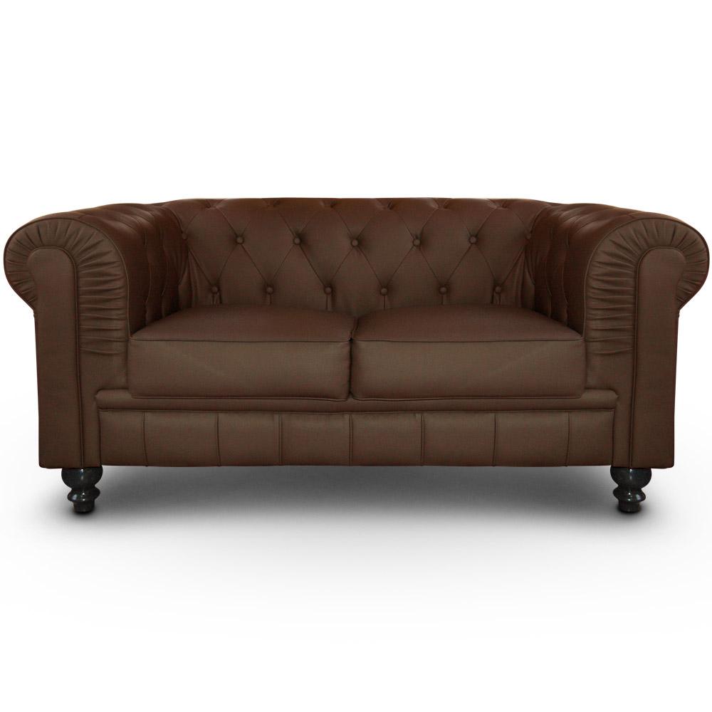 Le canapé Chesterfield capitonné 2 places original marron