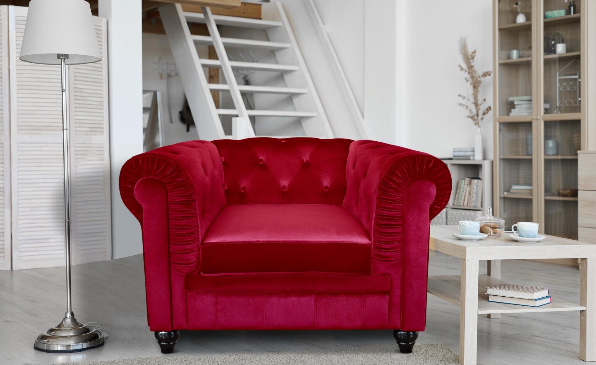 Poltrona Chesterfield in velluto rosso