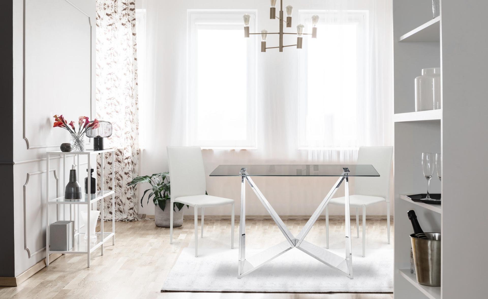 Set di 6 sedie impilabili Modan in similpelle (PU) bianche