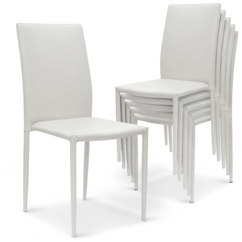 Lot de 6 chaises Modan simili-cuir Blanc