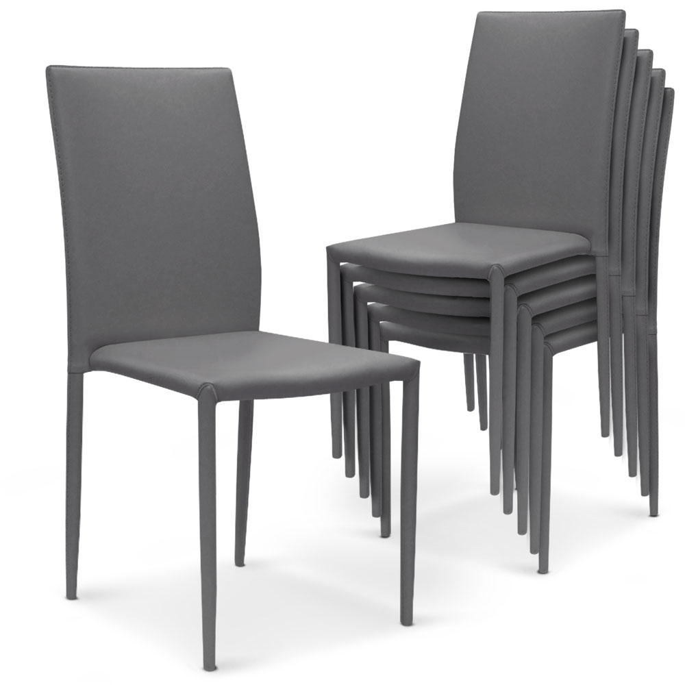 5 lots de 6 chaises empilables Modan  Simili (P.U)  Gris