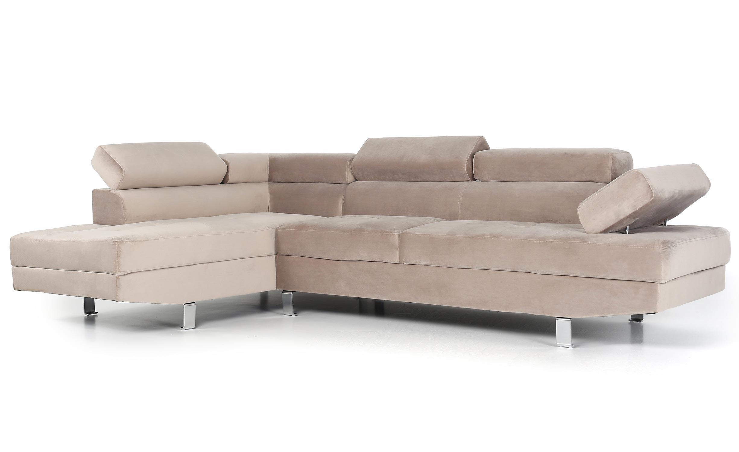 Canapé d'angle avec têtières relevables Alfa Velours Taupe