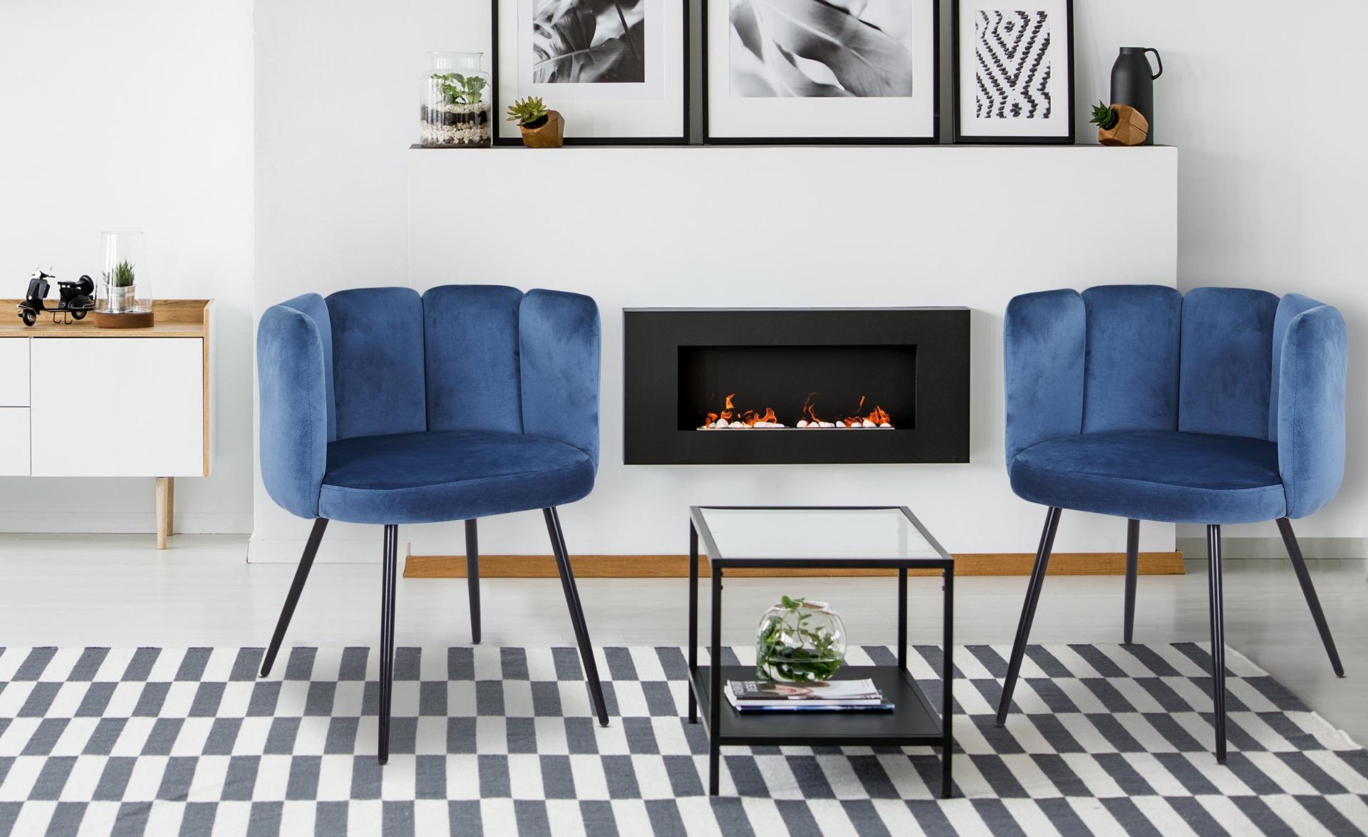 Set di 2 sedie Amela Velluto blu