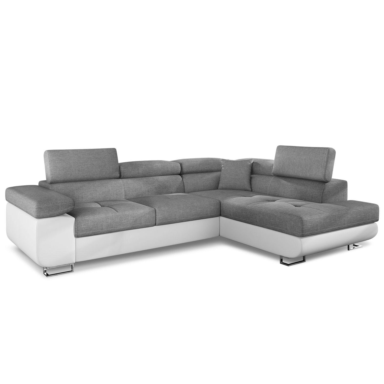 Canapé d'angle convertible Antoni avec têtières relevables angle droit simili Blanc et tissus Gris clair