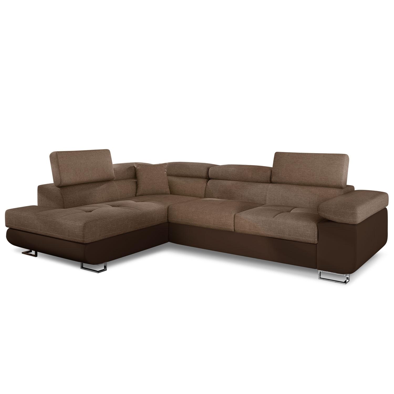 Canapé d'angle convertible Antoni avec têtières relevables angle gauche simili Marron et tissu Marron