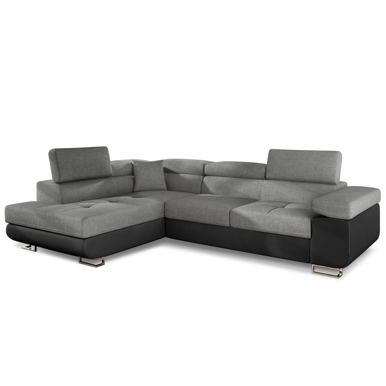 Canapé d'angle convertible Antoni avec têtières relevables Simili Noir et Tissu Gris foncé