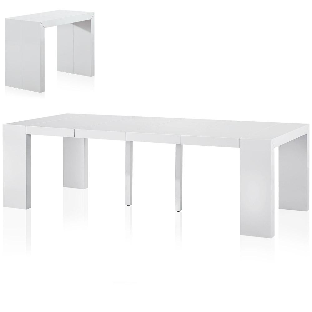 Table console extensible Nassau 4 rallonges laquée blanc - de 50cm à 250cm