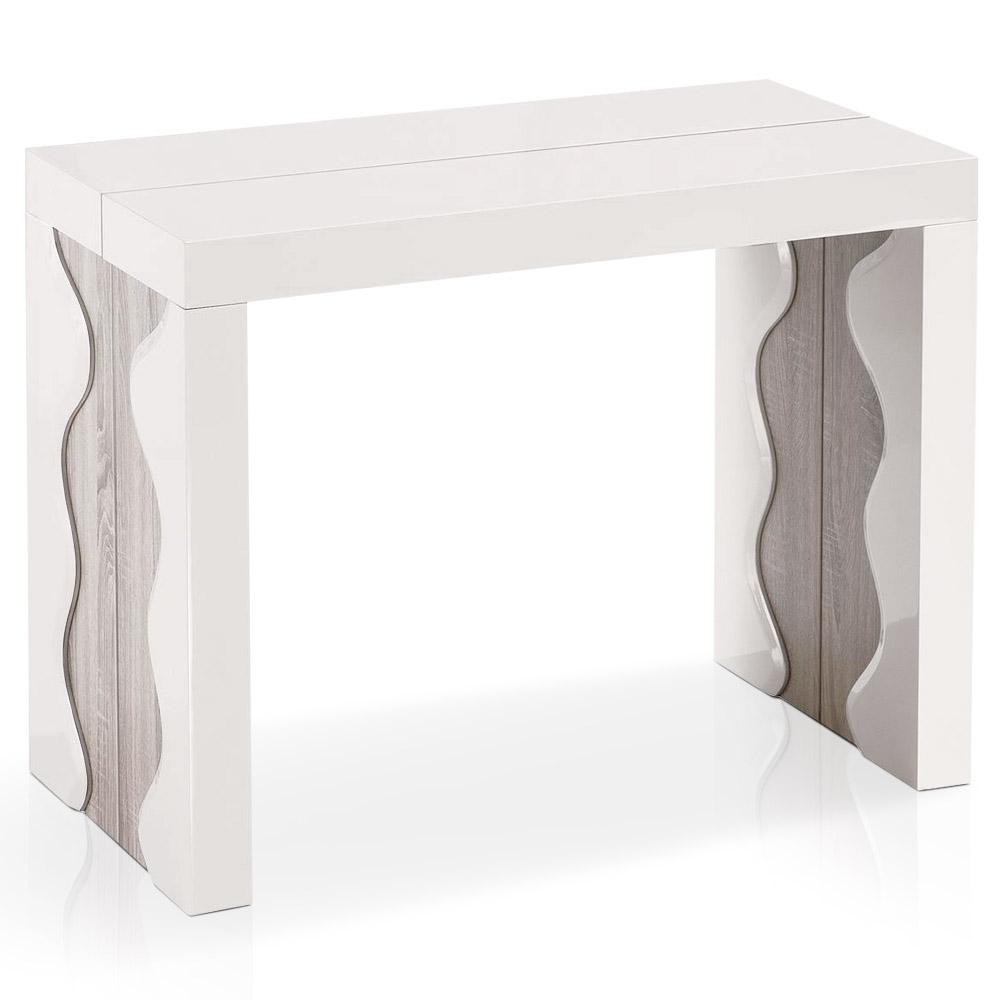 Table-console extensible 3 rallonges Ariel Laquée coloris ivoire & Chêne