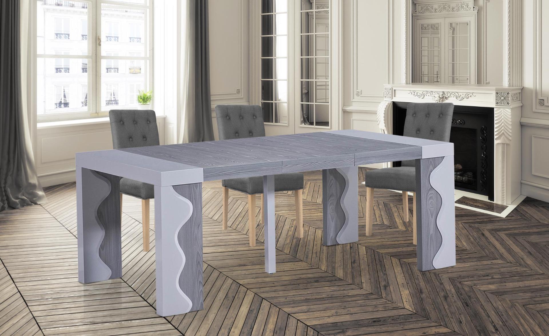 Tavolo consolle allungabile Ariel laccato grigio e rovere grigio