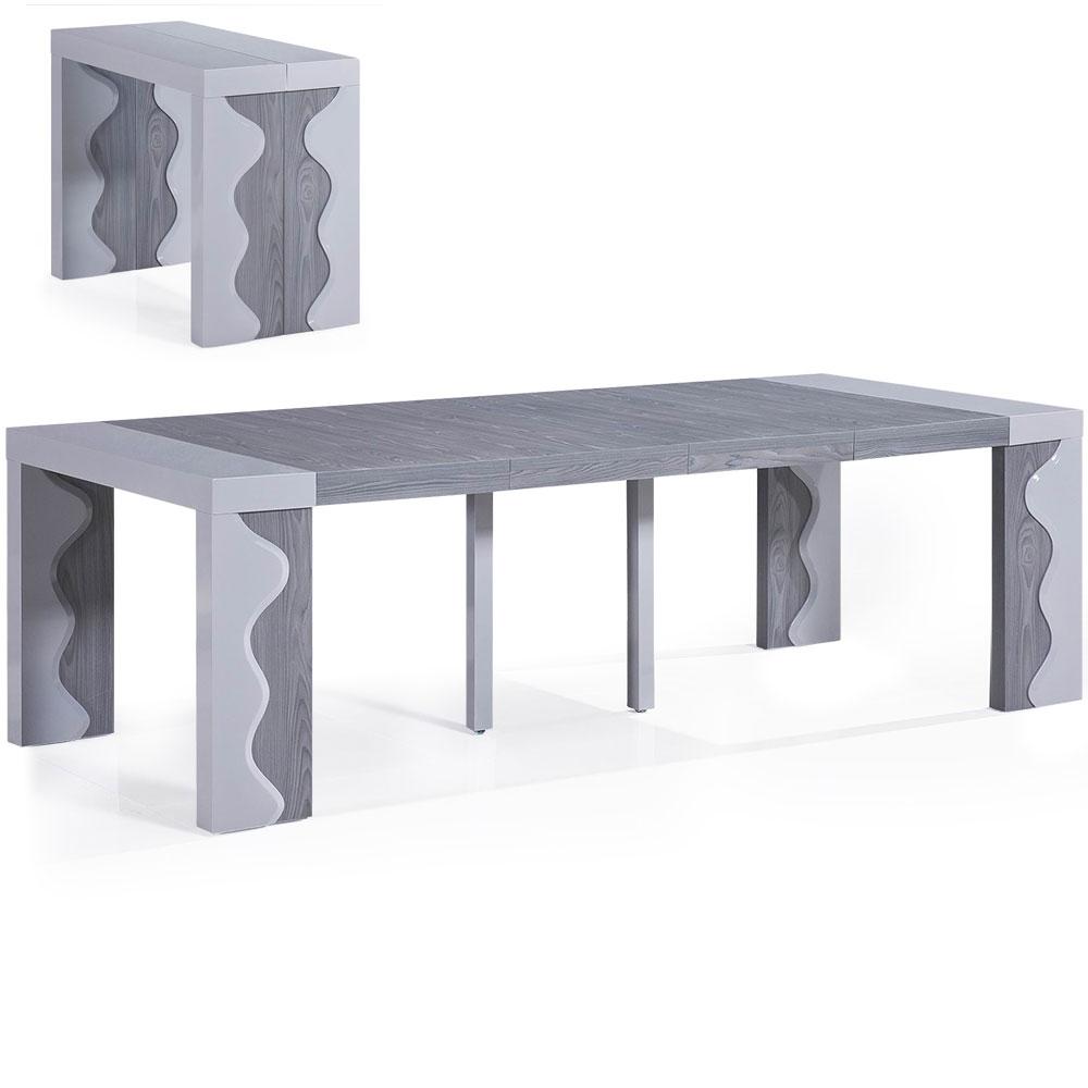 Table-console extensible 4 rallonges Ariel XL Laquée Gris & Chêne Gris