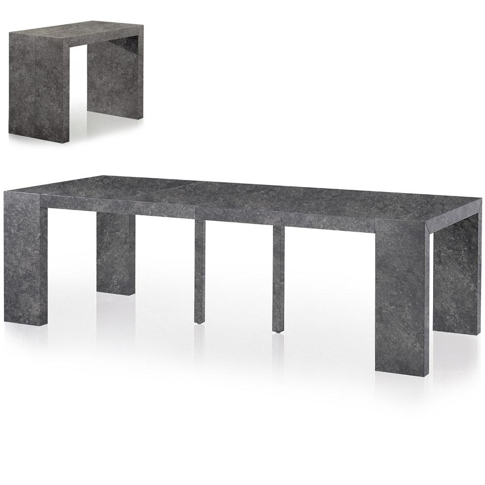 Table console extensible 4 rallonges coloris gris effet béton Nassau XL