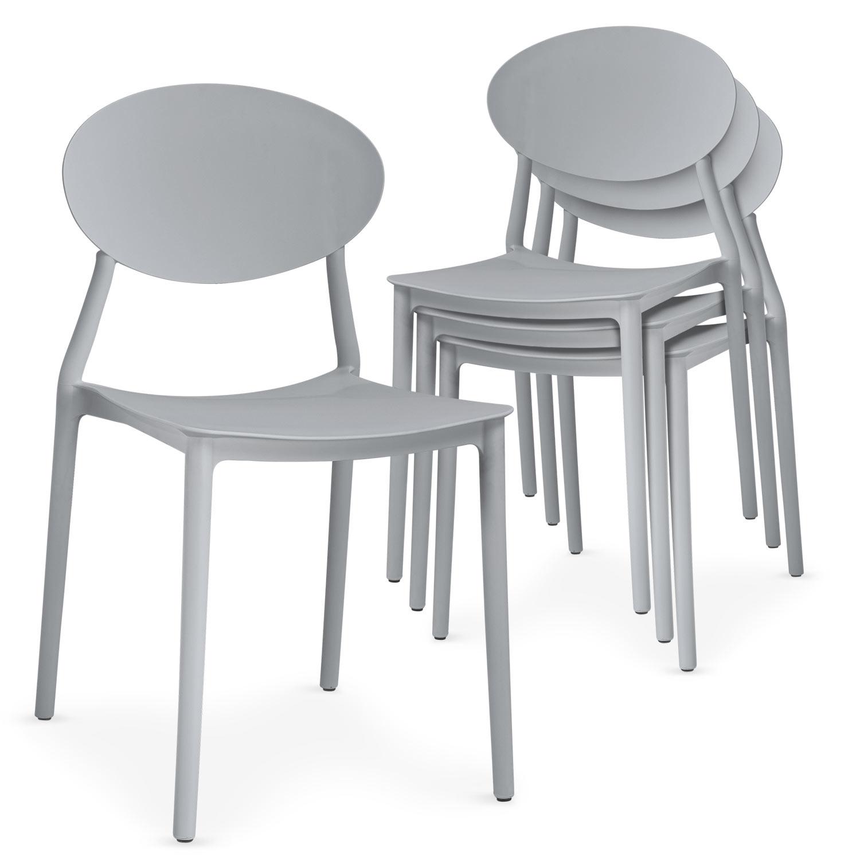 Lot de 4 chaises empilables Balagan Gris