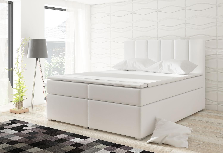 Letto Balero da 180 cm con materasso e coprimaterasso in similpelle bianco