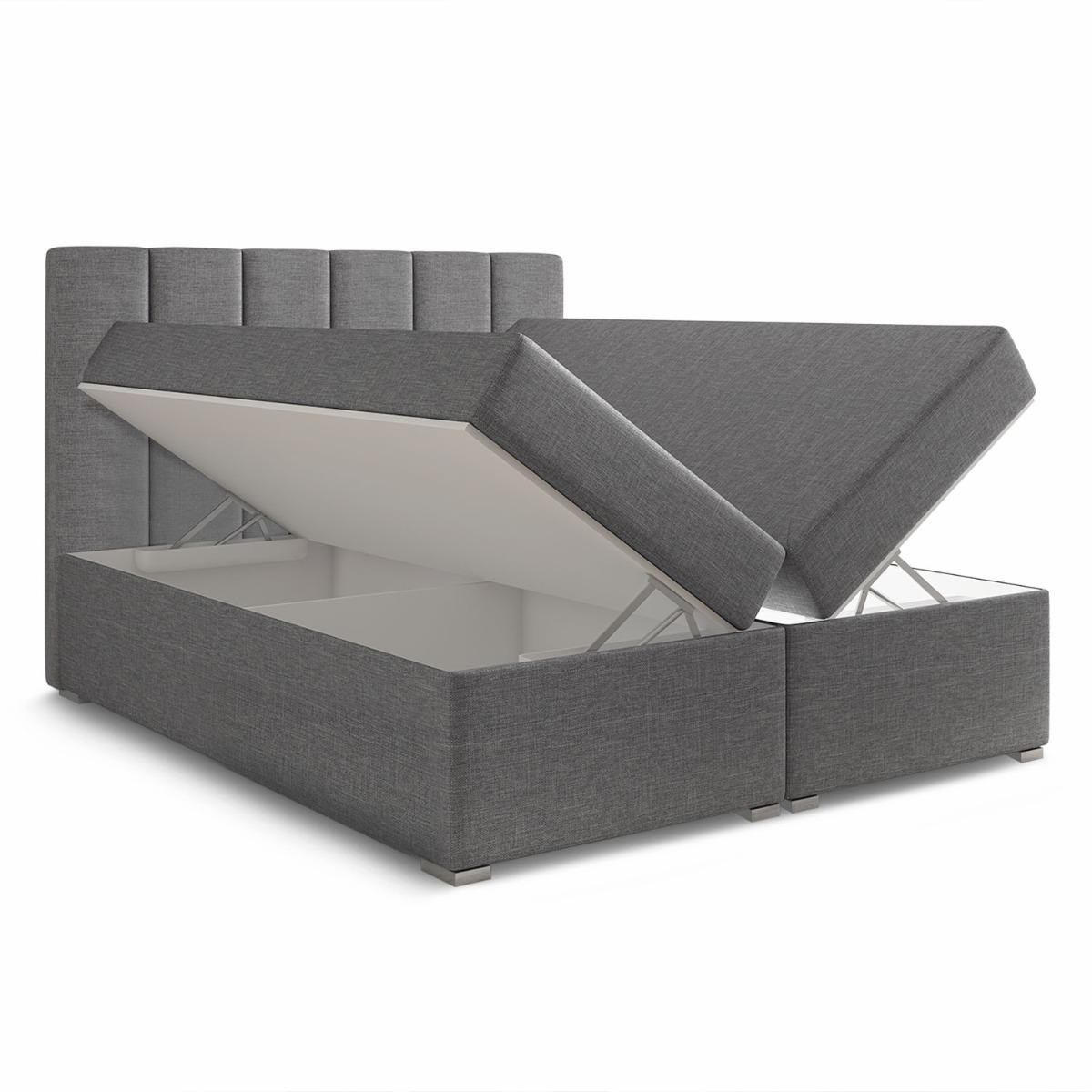 Letto Balero da 180 cm con materasso e coprimaterasso in tessuto grigio