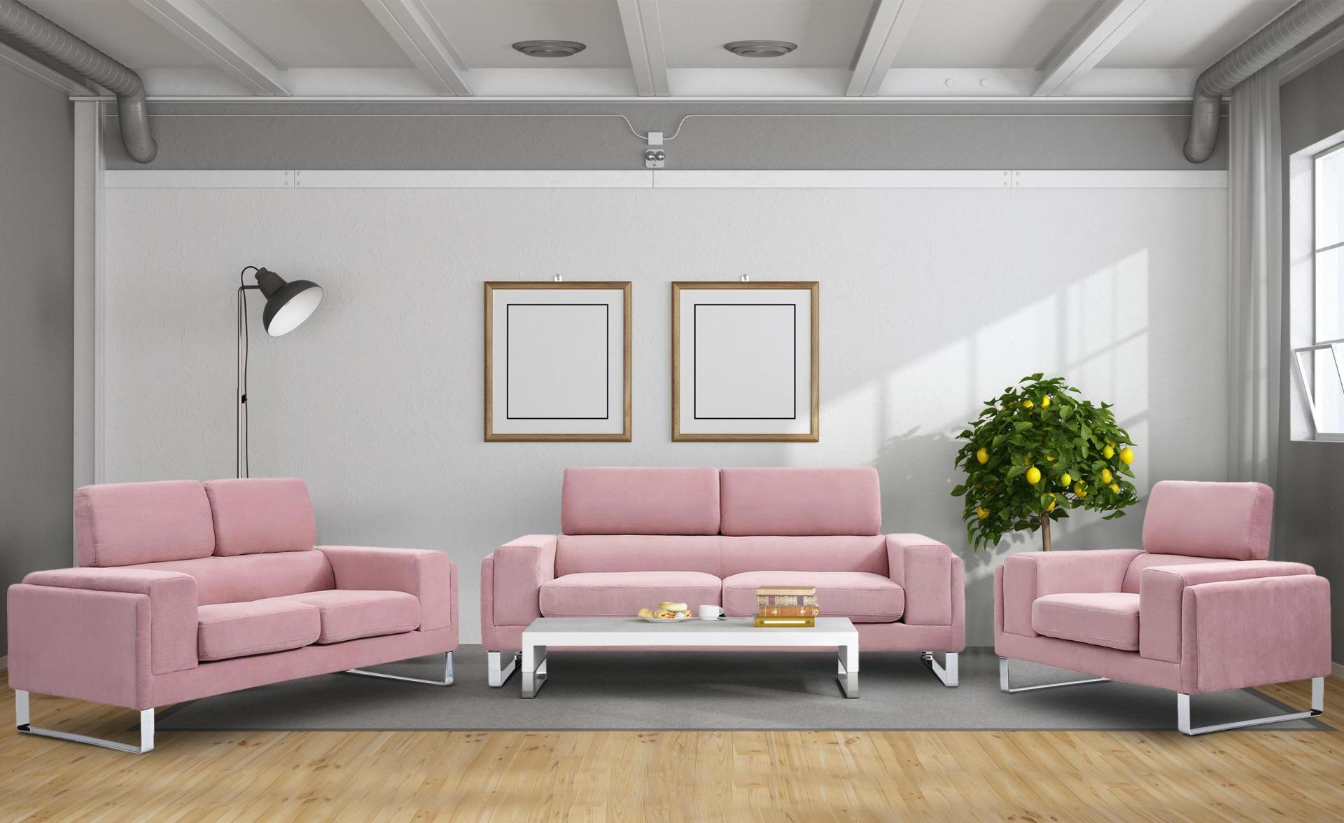 Divano a 2 posti Barth in velluto a coste rosa
