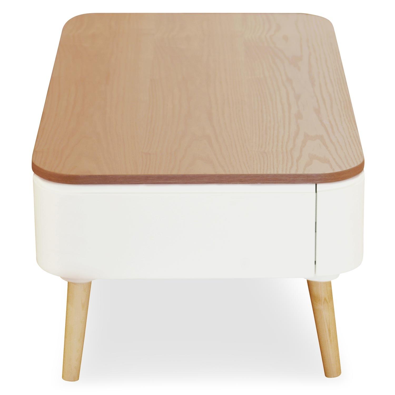 Tavolino scandinavo Bergen bianco e legno