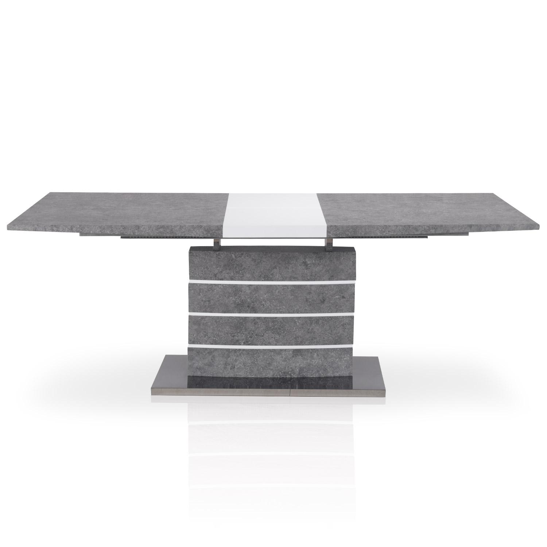 Table extensible Bilma Effet béton ouverte de face