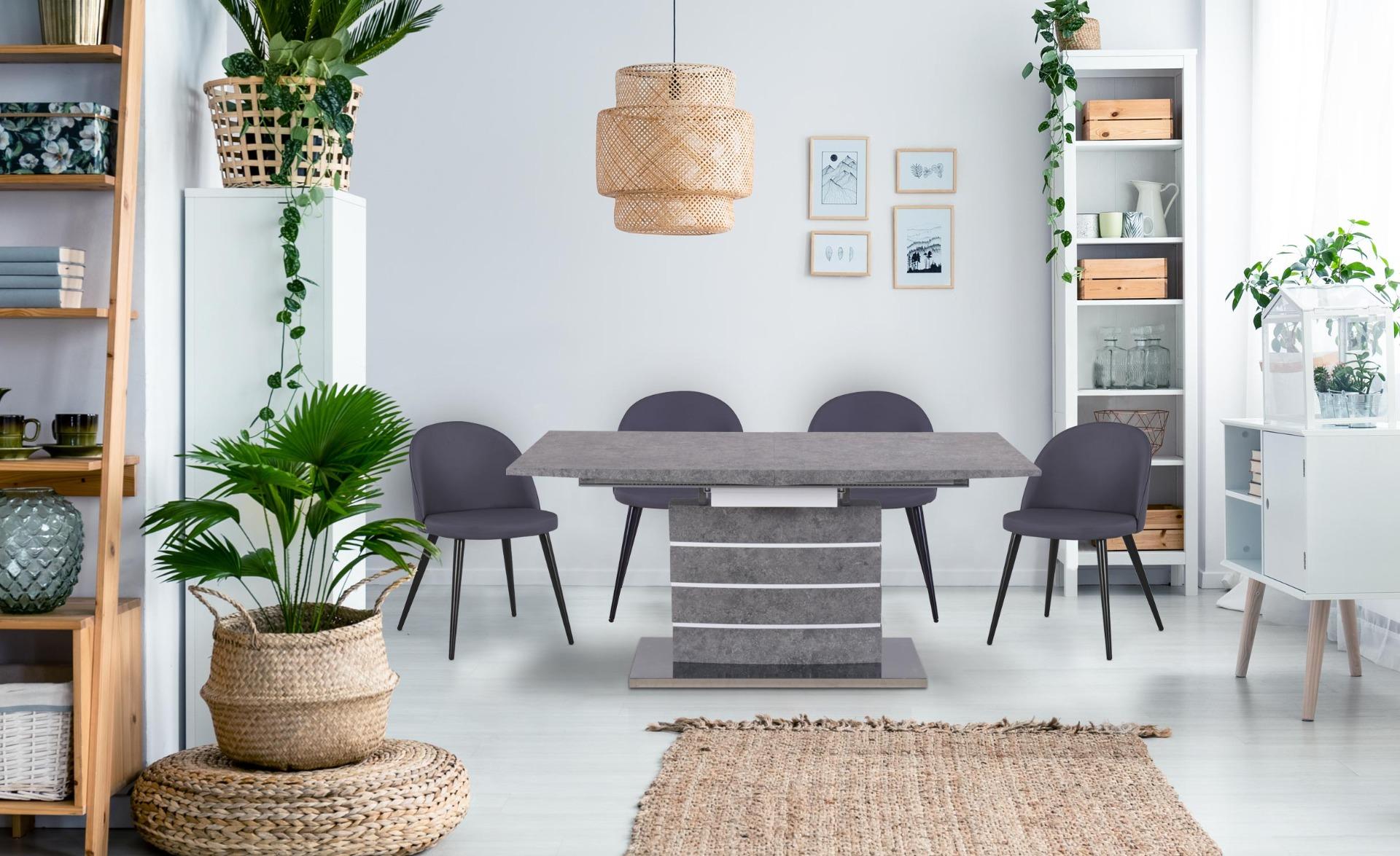 Tavolo allungabile Bilma ad effetto cemento