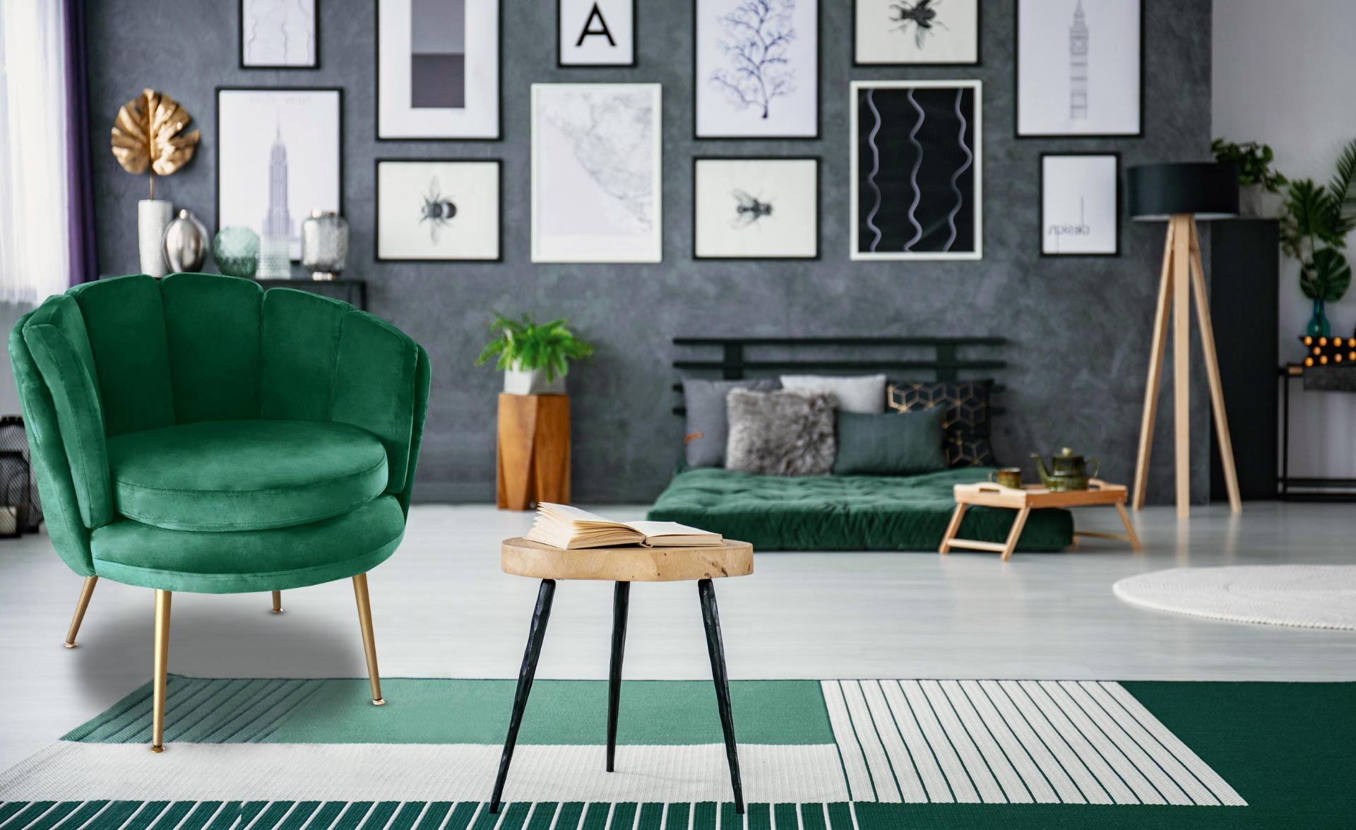Poltrona arrotondata Brenda in velluto verde