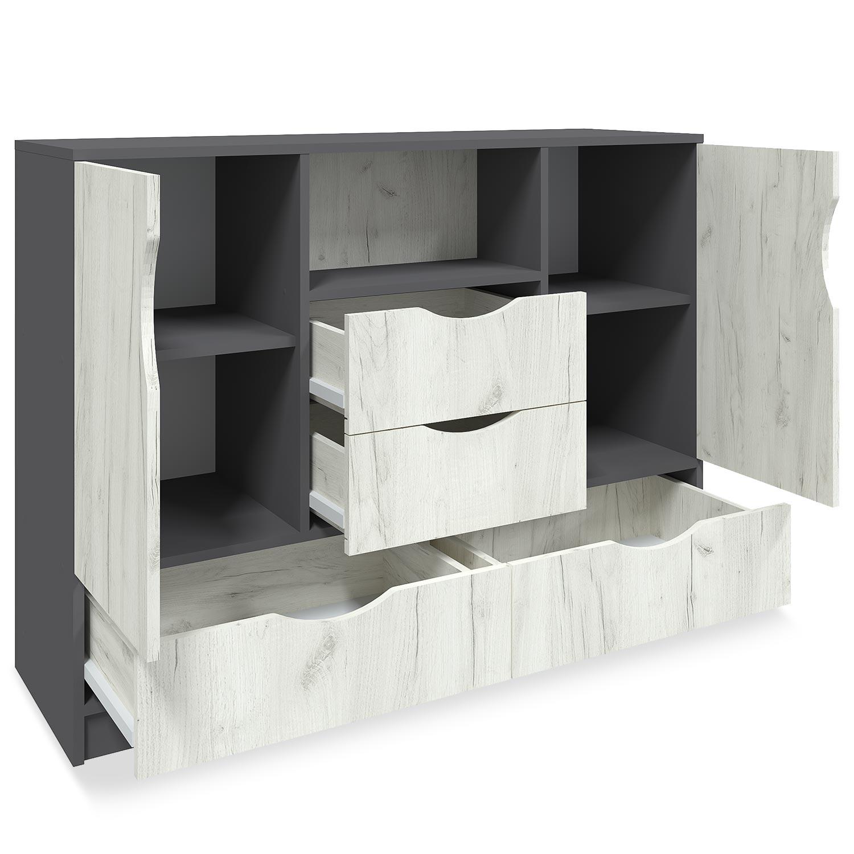 Credenza Caradec 120 cm grigio e legno chiaro