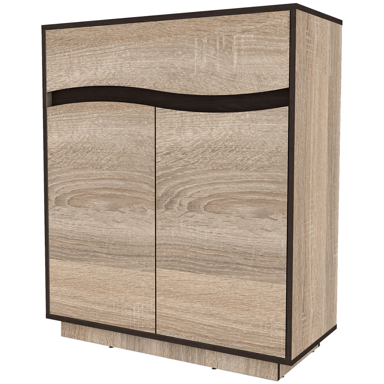Buffet haut 1 tiroir et 2 portes battantes Genevaro Chêne clair