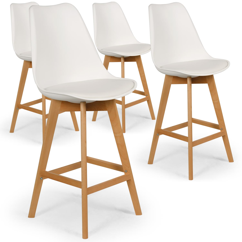 Lot de 4 chaises hautes scandinaves Bovary Blanc