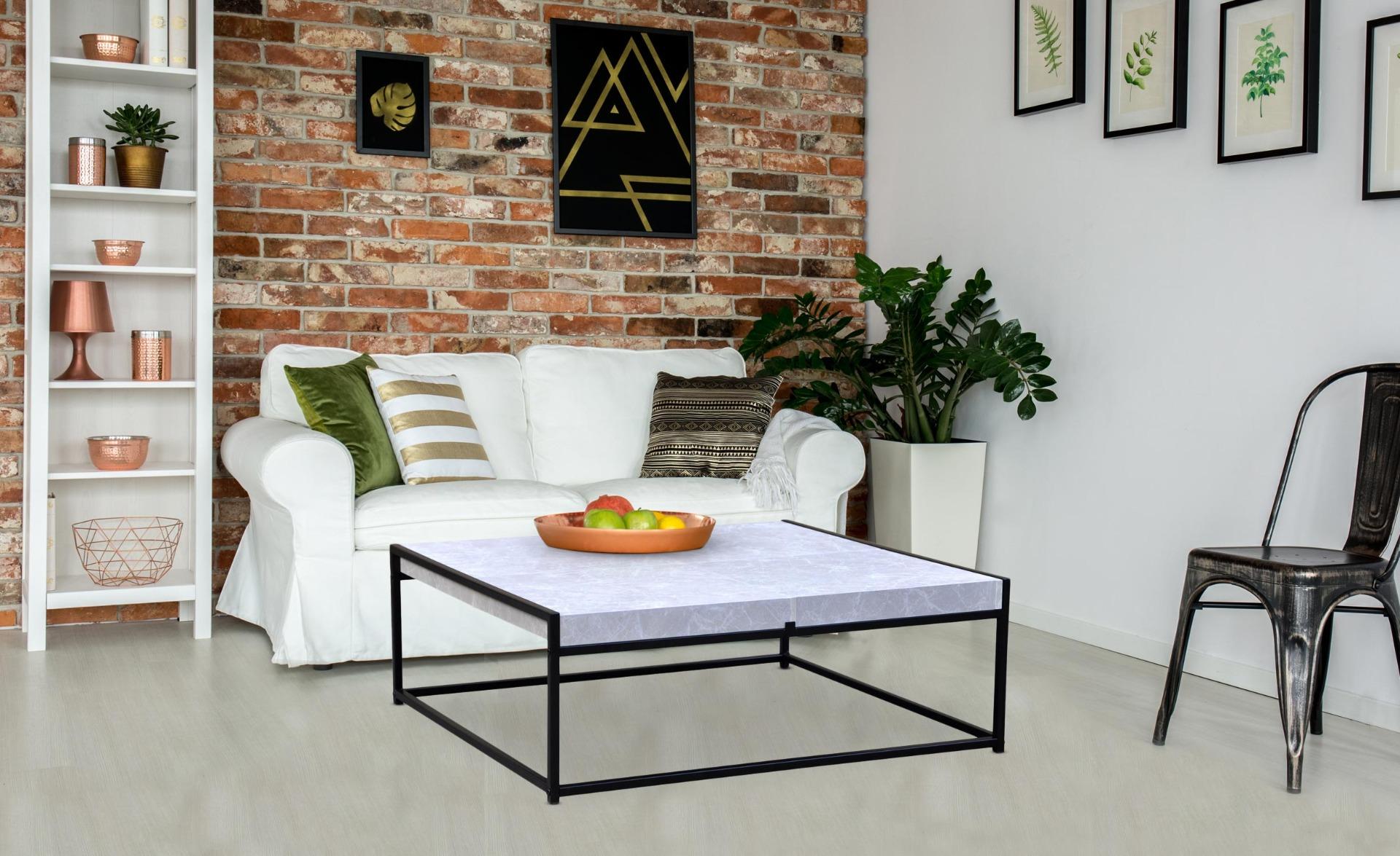 Tavolino Carolina con 4 scomparti effetto marmo