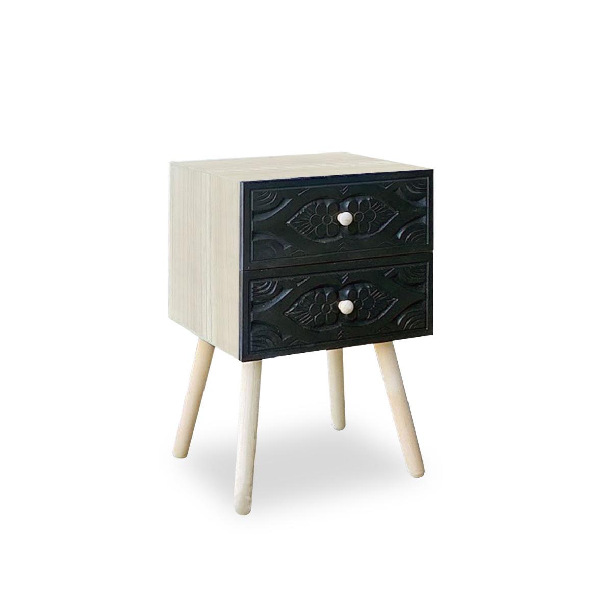 Table de chevet Catana 2 tiroirs Noir Carbone