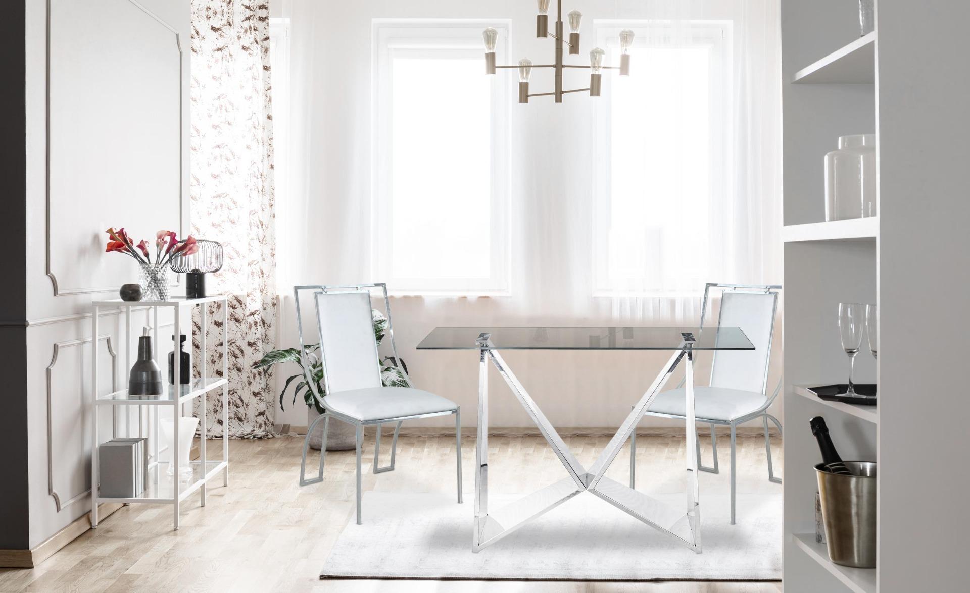 Set di 2 sedie Catarina similpelle PU Bianco con gambe argentate