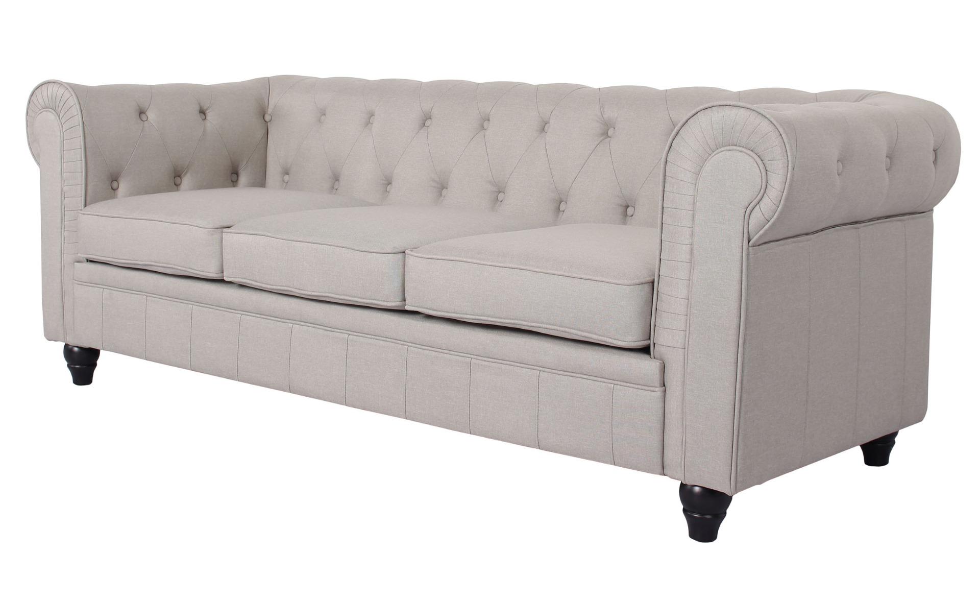 Grande divano chesterfield a 3 posti con effetto lino beige