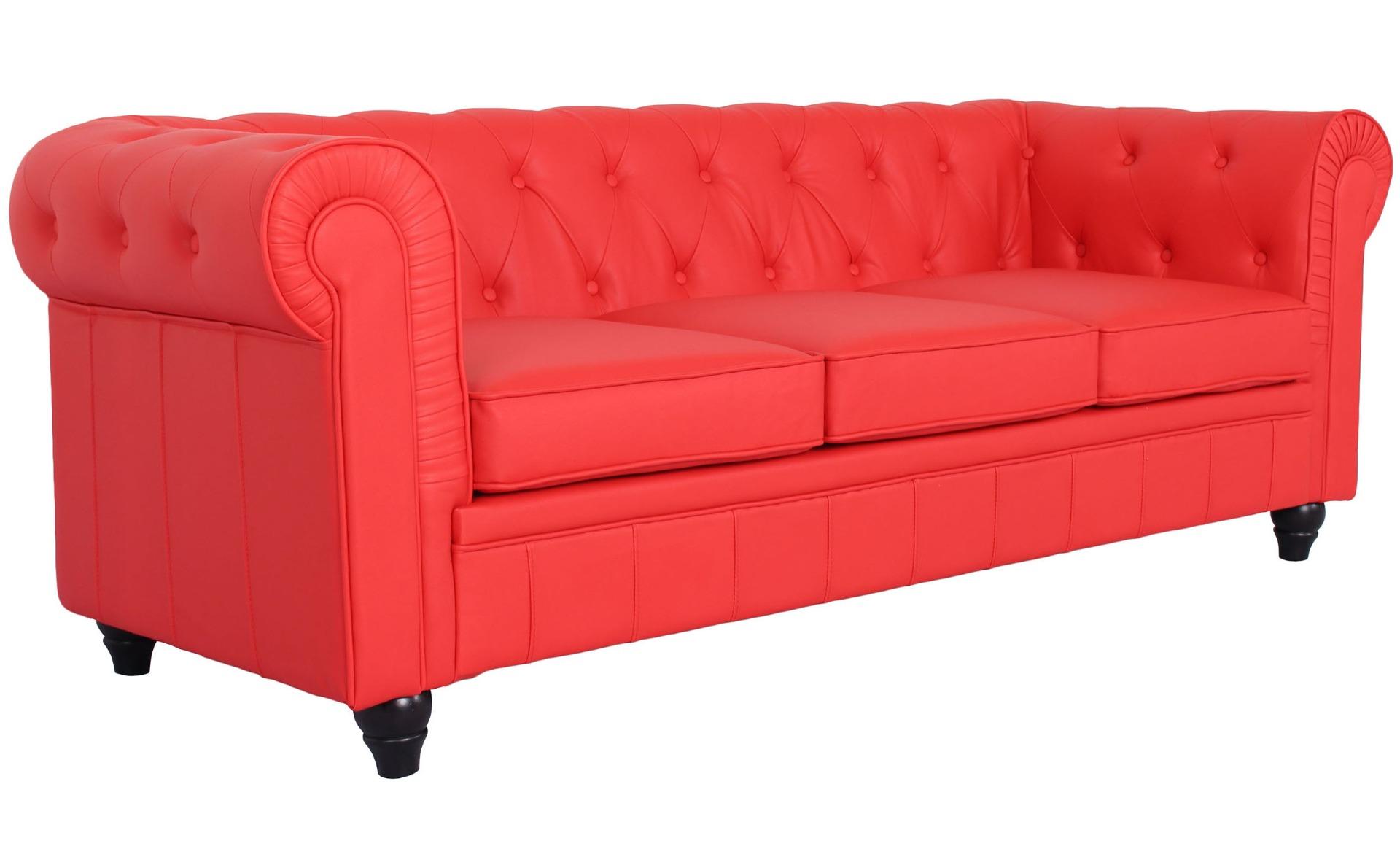 Ampio divano a 3 posti Chesterfield rosso