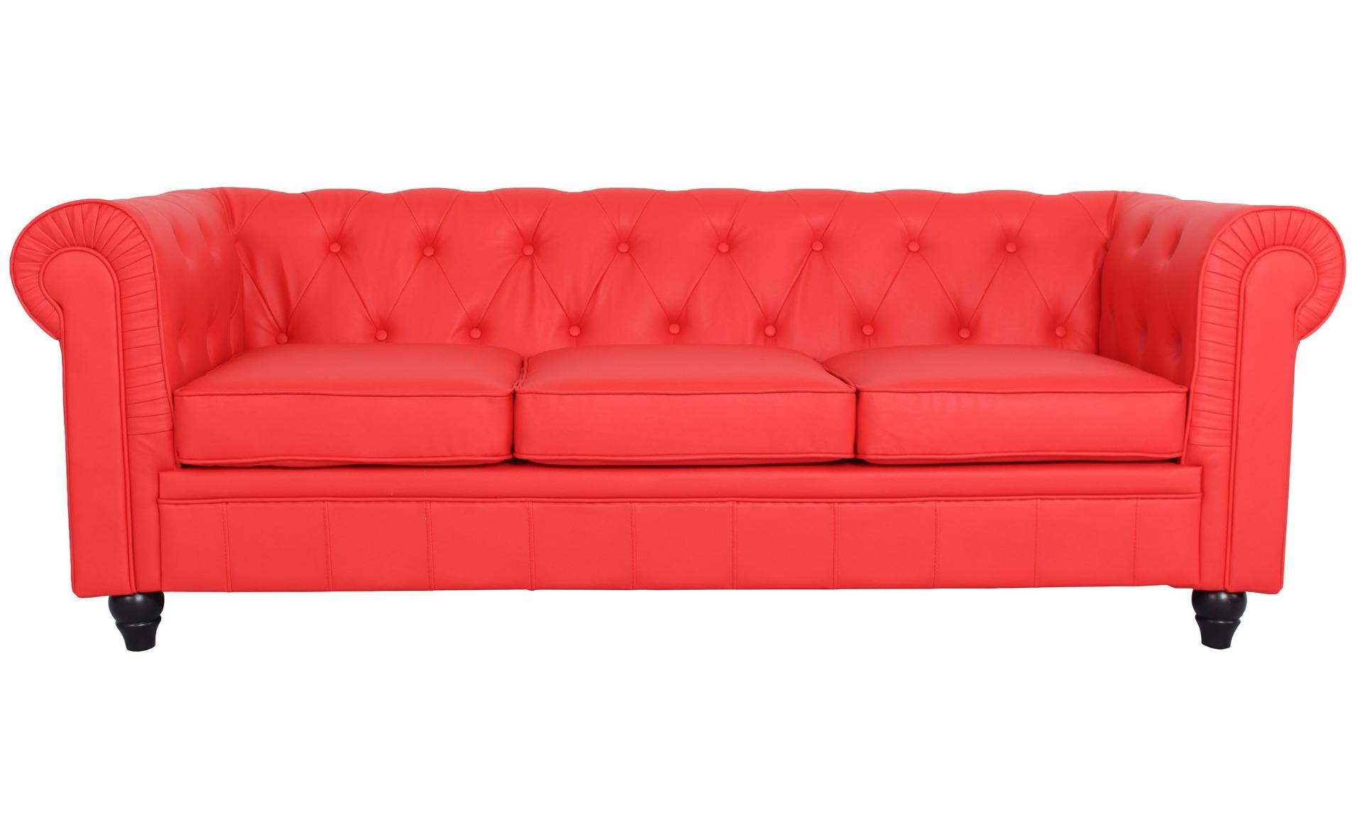 Le véritable canapé Chesterfield 3 places capitonné rouge