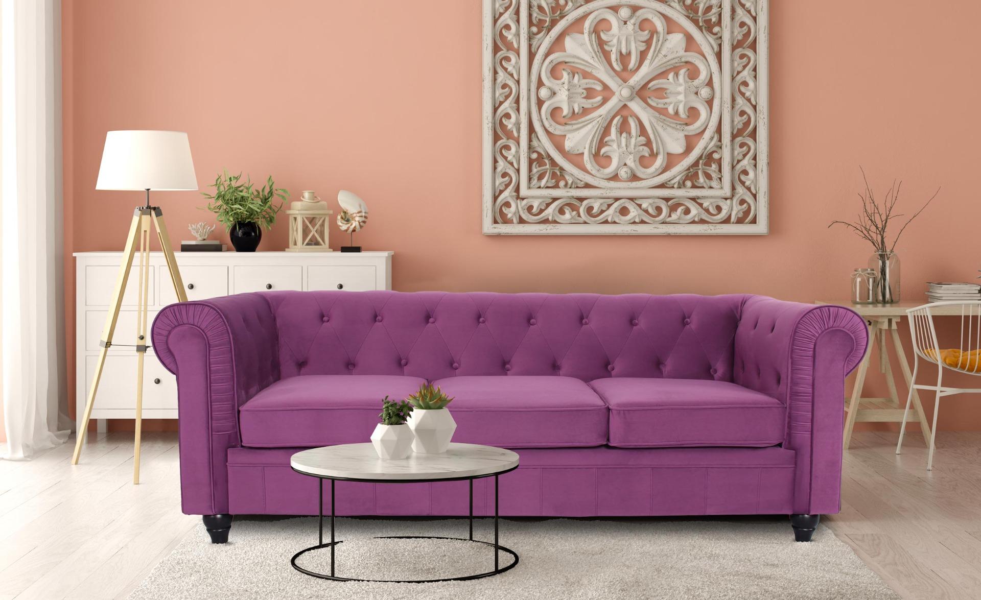 Grande divano a 3 posti Chesterfield in velluto viola
