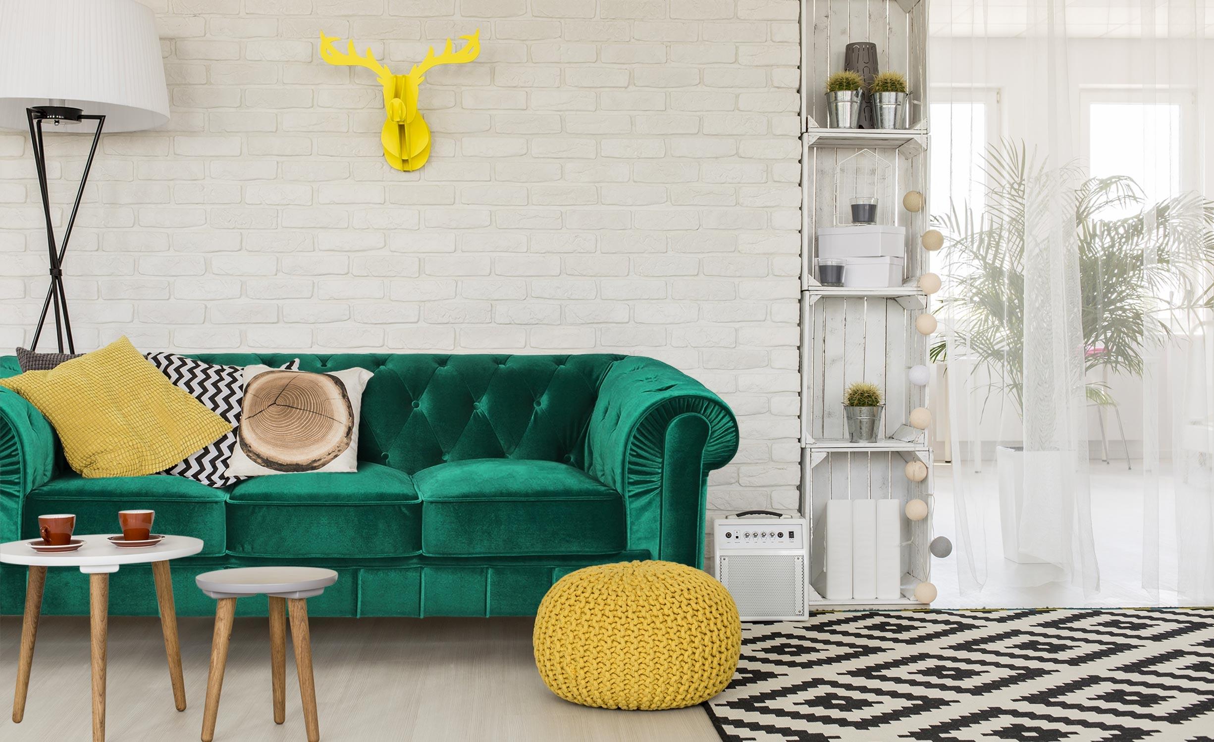 Grande divano a 3 posti Chesterfield Velluto Verde