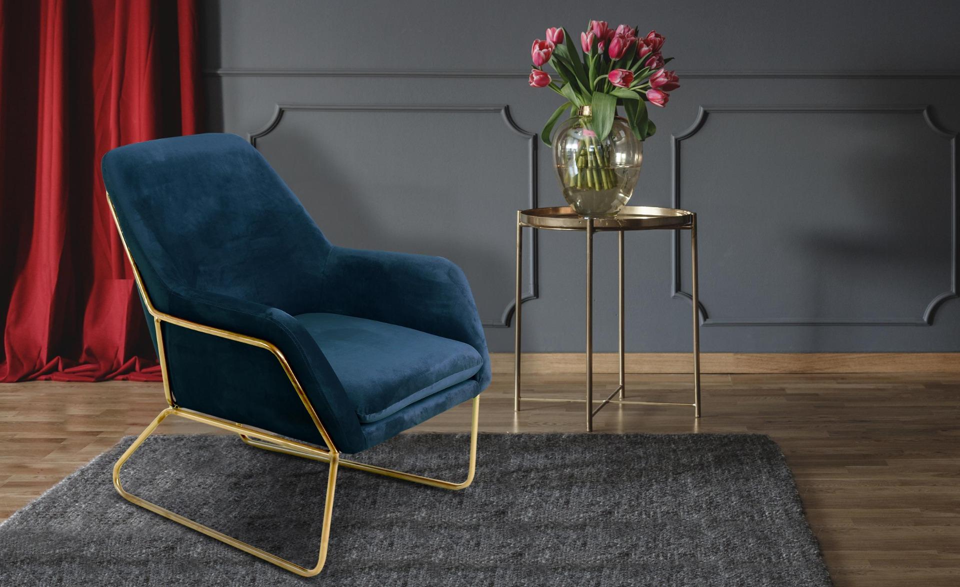 Poltrona Claudio in velluto blu  e gambe in metallo Oro