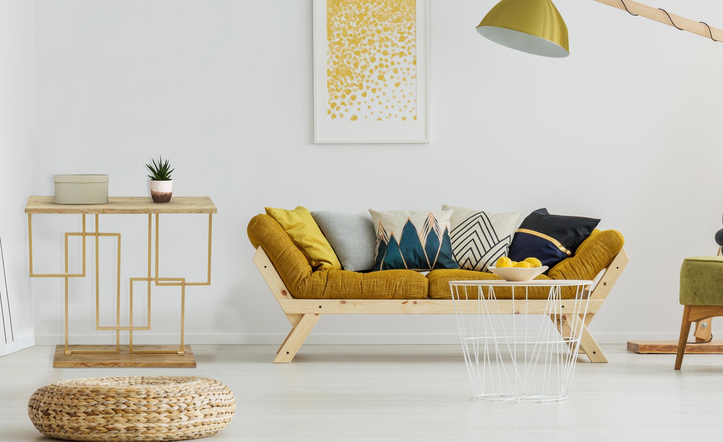 Consolle Penta in legno e metallo dorato
