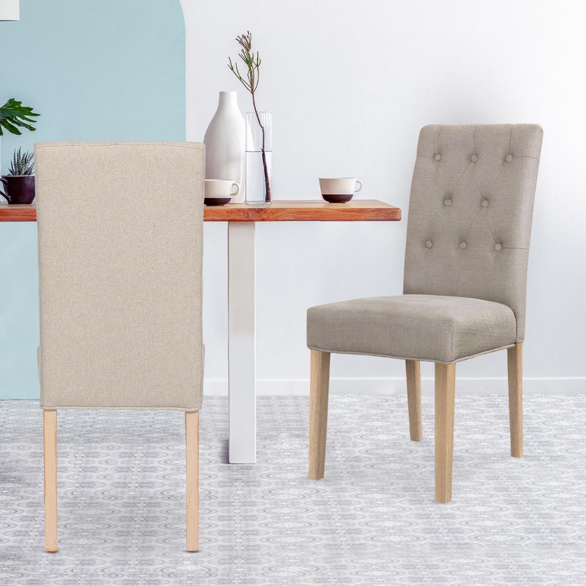 Set di 2 sedie Costel in tessuto beige