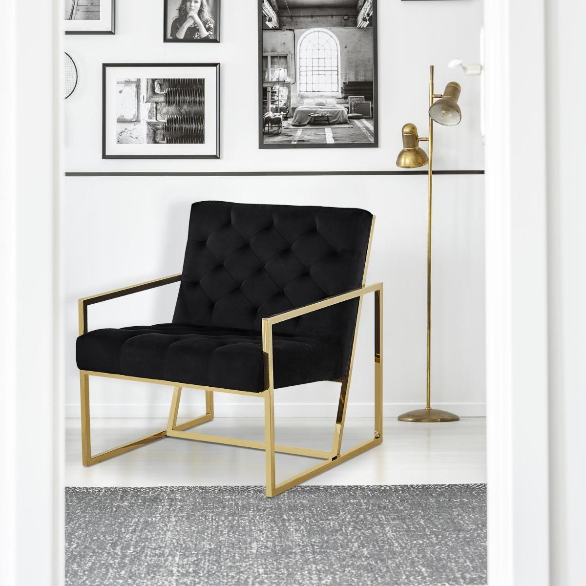 Poltrona Dallas in velluto nero gambe in metallo oro