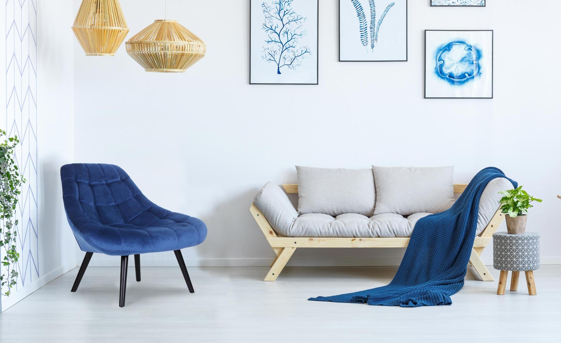 Set di 2 poltrone Danios Velluto Blu