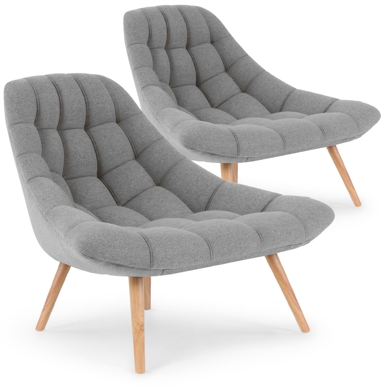 Lot de 2 fauteuils Danios Tissu Gris